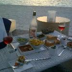 rose and food in the sun...and ON the beach...what more could one want!