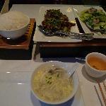 Fried lamb, vege and tofu soup