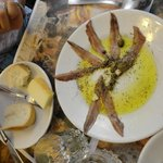 Anchovies with olive oil and lemon