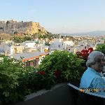 View of Acropolis from our roof top restaurant dining table.
