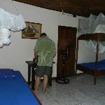 Rooms have fan, air con and mosquito nets