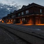 Cochrane train station at night (Station Inn is top floor)