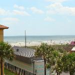 View from room balcony to the beach (turning to the left)