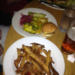 Pickle plate, garden burger slider and fries