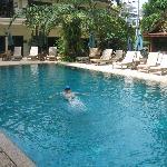 Relaxing in gorgeous salt water pool at Baan Souy Resort