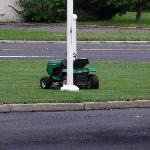 Mower left there most of weekend.