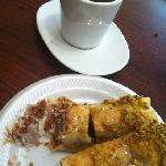 Baklava and special hot tea.  I NEED more of this baklava!!