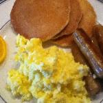 Two eggs, sausage & pancakes.