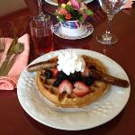 Zucchini waffles and sausages with fresh fruit--Delicious!