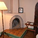 Fireplace in the Willa Cather Room; firewood is available just outside the door.