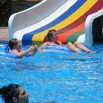 The pool, one of the slides!
