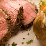 Pepper Smoked Sirloin and baked potato