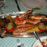 The Prawns and grilled fish the first night