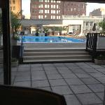 View of the Pool are from the treadmill.