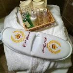 Nice towel robe, slippers & toiletries