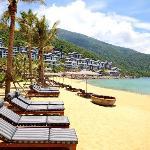 Beach with sun beds