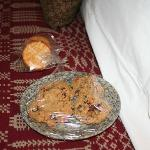 Fresh baked cookies upon arrival and the crackers that went with the sausage and cheese plate.
