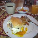 Breakfast slider with home-made ground beef, topped with egg, & more!
