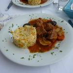 Traditional pork dish with Skopelos prunes