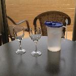 wine glasses and pitcher of cold water -- a nice touch