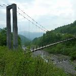 『別当出合の吊橋』全景です。長さ117mもあります。