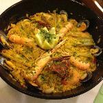 Local seafood paella at Hostal Esmeralda, Comillas, Spain