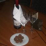 Complimentary bottle of wine and chocolates on the night before check out.