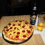 Pepperoni Pizza with extra olives and a Tiger Beer only came to 132,000VND! Bargain