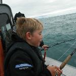Badger working hard, this boy can fish!