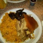 pork, yellow rice, blood sausage