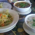 Papaya salad and two soups