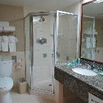 shower stall with rough floor