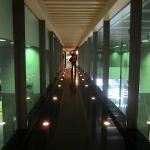 Lighted walkway to the hotel, one of many entrances