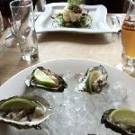 oysters for me, goats cheese for the wife