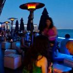 Blue Lounge Beds and Patio