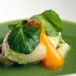 Watercress soup with poached duck egg