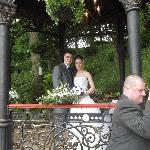 Married outside under a beautiful band stand