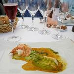 Stuffed Courgette Flowers, Grilled Prawns, Lobster Sauce