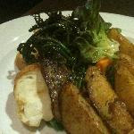 Grill lamb with wedges and black pepper sauce @ $12