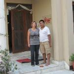 Ashok and Catherine outside the entrance
