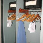 Closet with iron & safe, full-length mirror