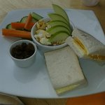 Childrens platter .. half a sanwich, fruit, veg and popcorn .. my son loved it
