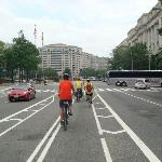 Biking the busy street of DC