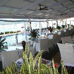 dinning while beside the pool