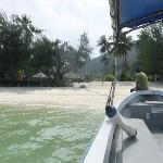 View of resort from speedboat before snorkelling trip