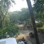 early morning scene outside hotel