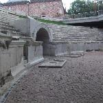Roman Stadium accessible from pedestrian way in centre of Plovdiv