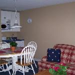 Partial kitchen and dining area off living room