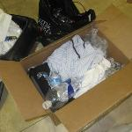 Clothing stuffed in a box