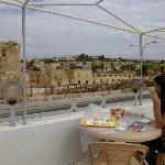 Enjoyable breakfast on the terrace. Great view!